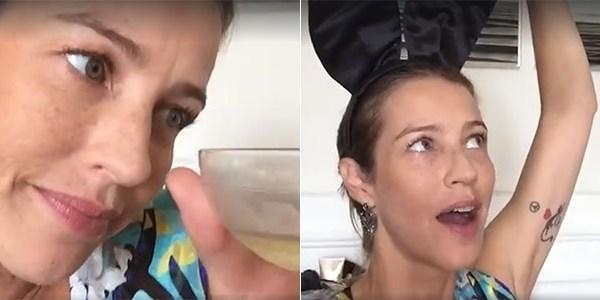 """Luana Piovani bebe champanhe nos bastidores de ensaio para a """"Playboy"""""""