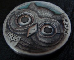"""'Owl' Hobo nickel/coin carving • <a style=""""font-size:0.8em;"""" href=""""http://www.flickr.com/photos/72528309@N05/24617214446/"""" target=""""_blank"""">View on Flickr</a>"""