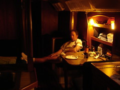 2004 07 28 in the cabin on Reality Check in Catalina