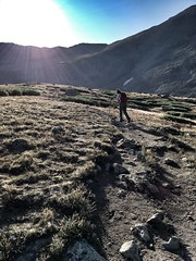 Aman hiking ahead of me