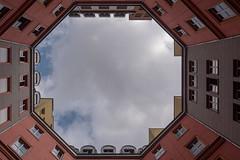 Berlin: Lichthof im Quartier Schützenstraße - Looking upwards in a courtyard of the Schützenstraße Quarter.