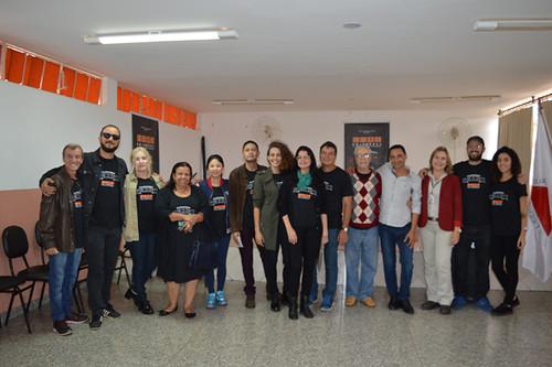 A equipe do Cine Documenta com Alisson Prodlik, Luís Carlos Lacerda e Leida Horst