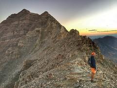 Matt on the summit ridge at sunrise