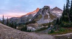 Boulder Pass and Clark Mountain sunrise pano