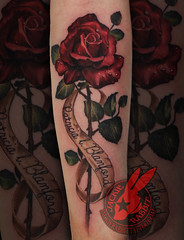 Vintage Realistic Red Rose 3D Name Color Banner Lettering Font Tattoo by Jackie Rabbit