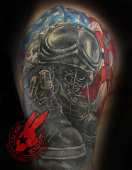 Soldiers Cross Memorial armed Forces Marines USMC Flag Boots Helmet American Dog tags Tattoo by Jackie Rabbit