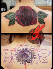 Red Rose Flower 3d Realistic Color Real Cover Up Tattoo by Jackie Rabbit