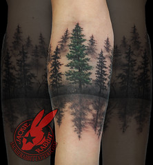 Pine Tree Forest Silhouette Realistic Around Arm Tattoo by Jackie rabbit