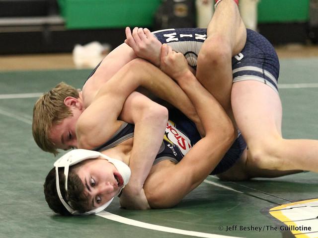 113 1st: Cael Swensen (Wayzata) won by fall over Landen Parent (Princeton) (Fall 3:32). 181020BJF0083