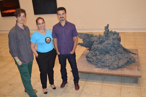 Pedro David, curador da mostra, Penélope Portugal, diretora do Usicultura, e Rodrigo Zeferino