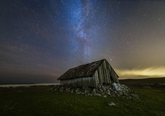 Milky way and old house