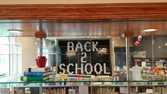 KC Brick Lab Back to School display at Smithville Mid-Continent Library
