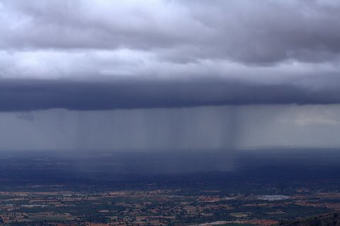View of monsoon showers from Nandi Hills