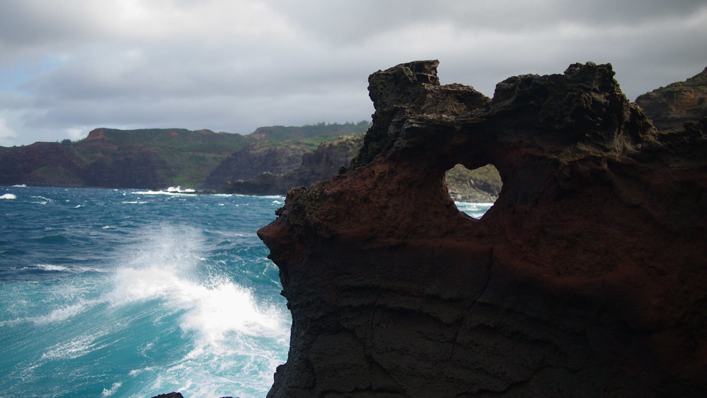 """Heart hole"" at the Nakalele Blowhole – Maui, HI (photo posted on flickr.com by sxates)"