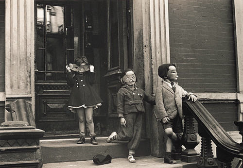 Children on Stoop Wearing Masks by Helen Levitt (1939) - Sharla Sava
