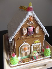 Two story gingerbread house.