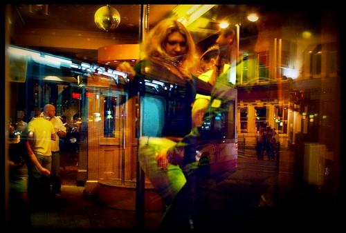 Having a go at pole dancing, Boar Lane 2