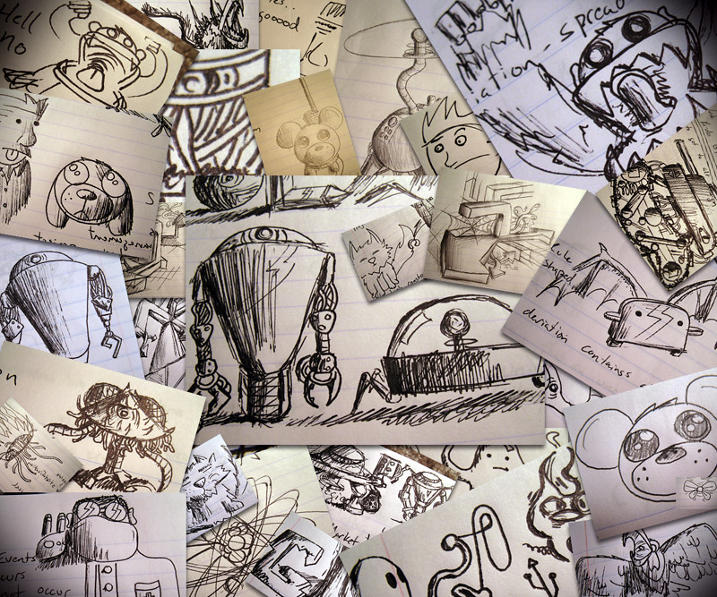 collection of doodles piled on top of each other