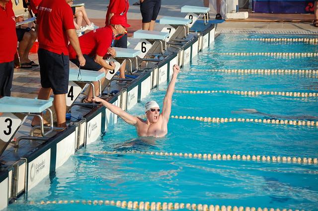 Pál celebrates winning the 2007 IIGA Rhodes 1500 freestyle