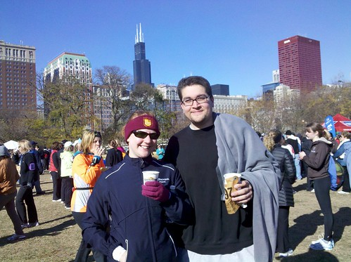 enjoying hot chocolate after the Hot Chocolate 15K