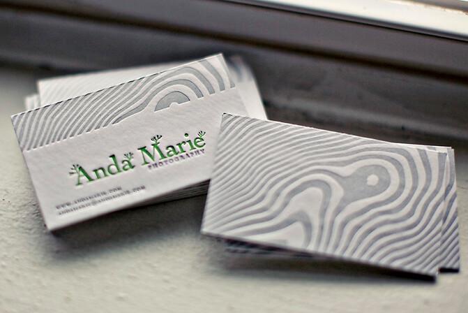 Anda Marie Letterpress business cards