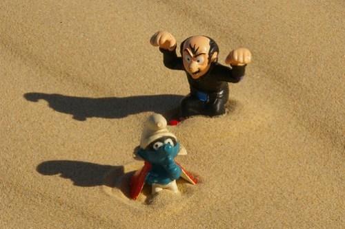 Gargamel chases a smurf