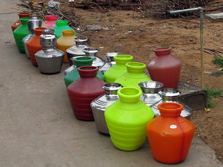 India - Colours of India - 014 - Water pots lined up for filling