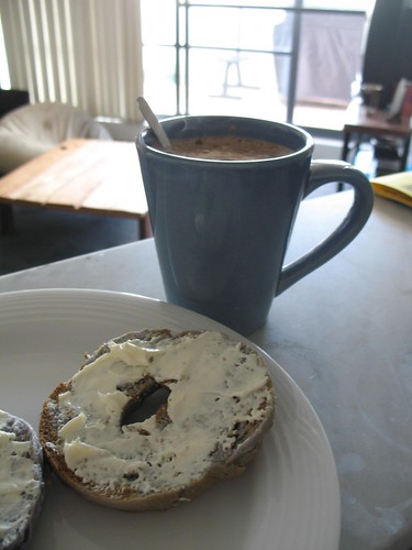 Blueberry bagel with cream cheese