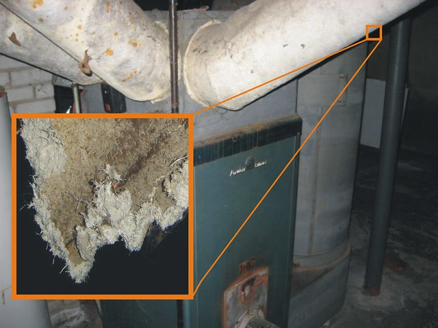 Asbestos Paper Insulation on Old Furnace Ducts