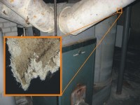 Asbestos Paper Insulation on Old Furnace Ducts | Asbestos ...
