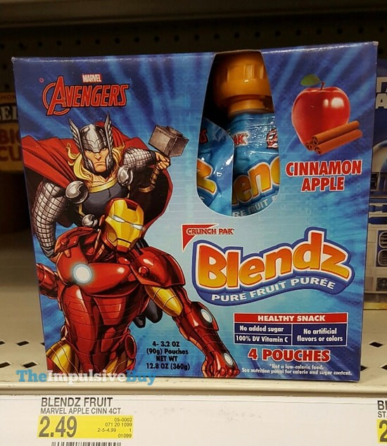 Crunch Pak Marvel Avengers Cinnamon Apple Blendz Pure Fruit Puree