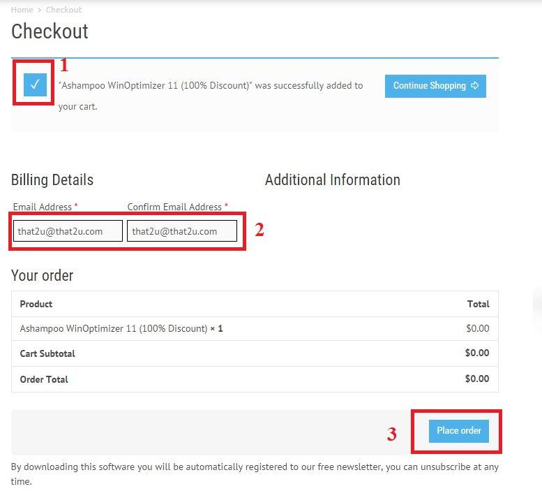 Bản quyền miễn phí Ashampoo WinOptimizer 11 bước 3: xác nhận