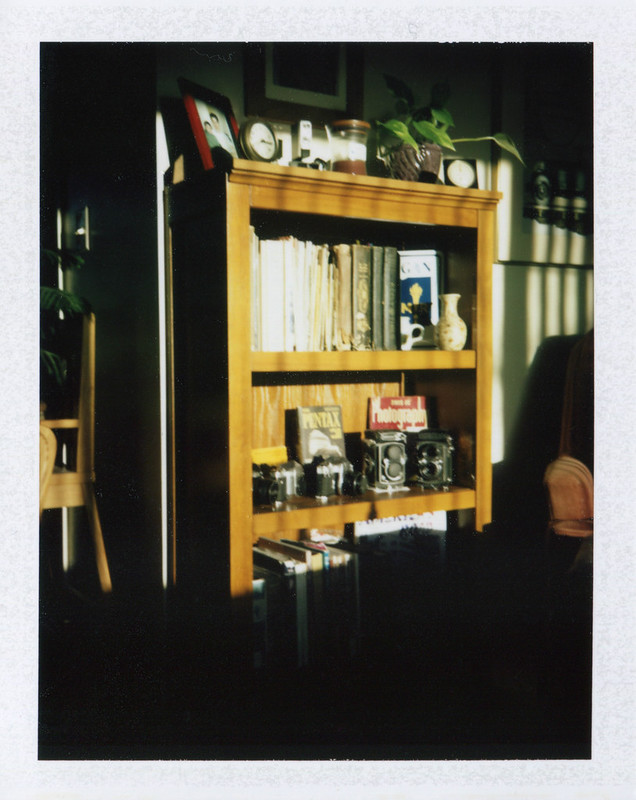 Bookcase with cameras