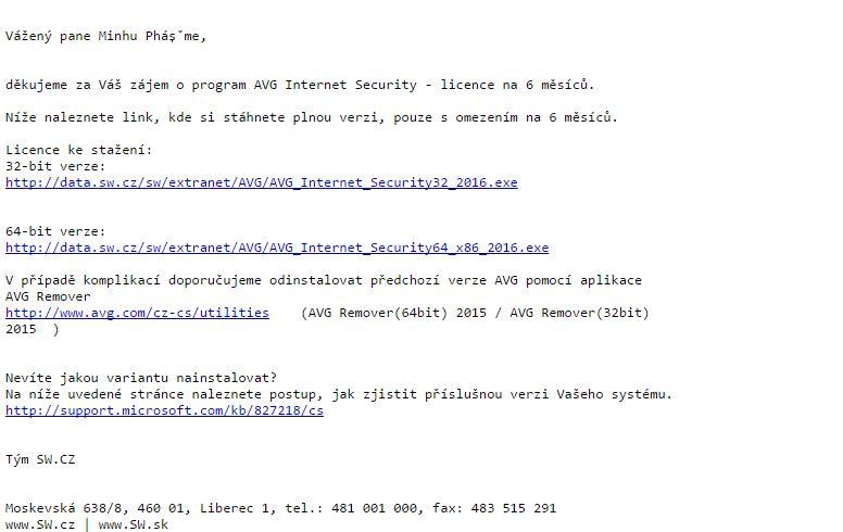 bản quyền miễn phí AVG Internet Security 2016 bước 4: nhận link download