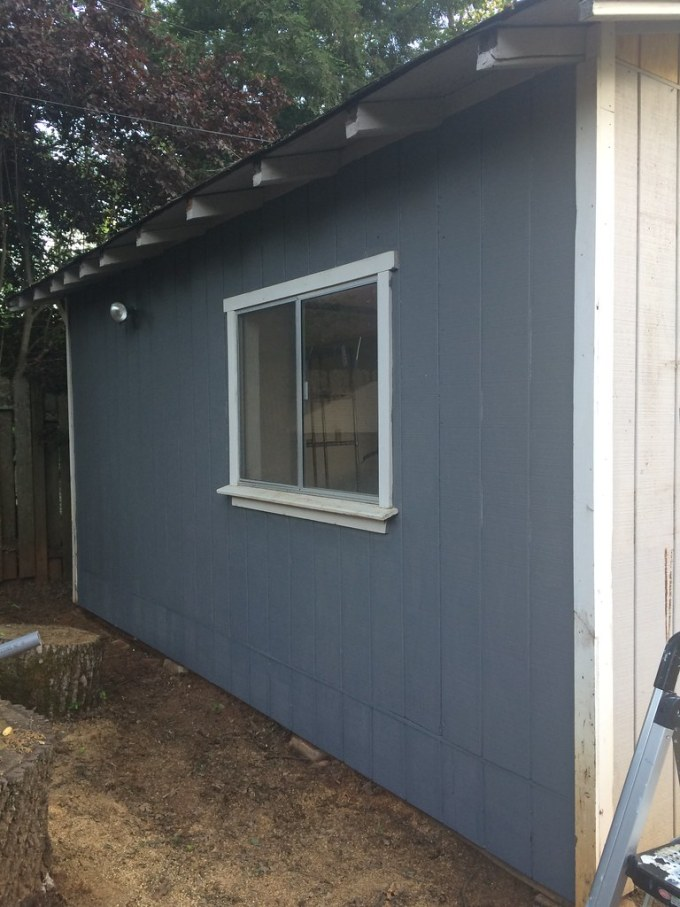 First coat of paint is on the shed!
