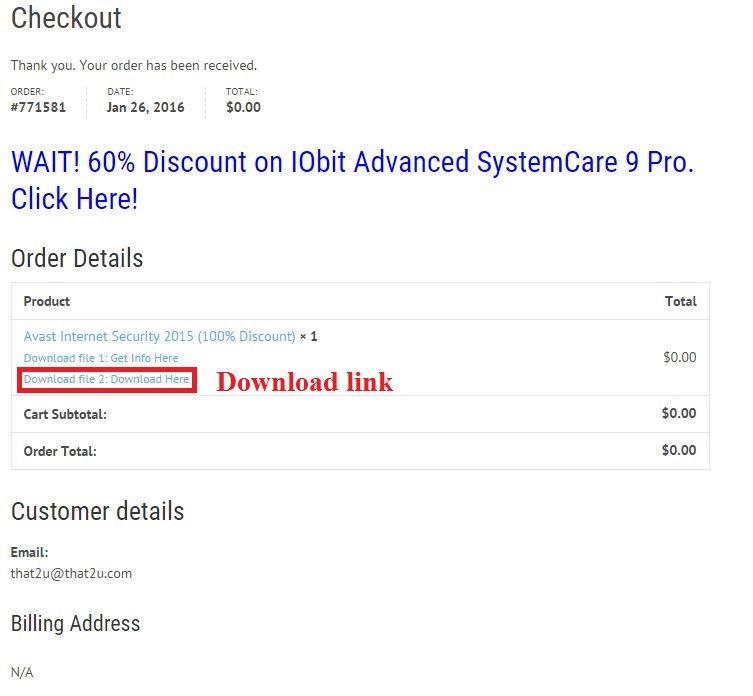 Bản quyền miễn phí Avast Internet Security 2015 bước 4: nhận link download và license