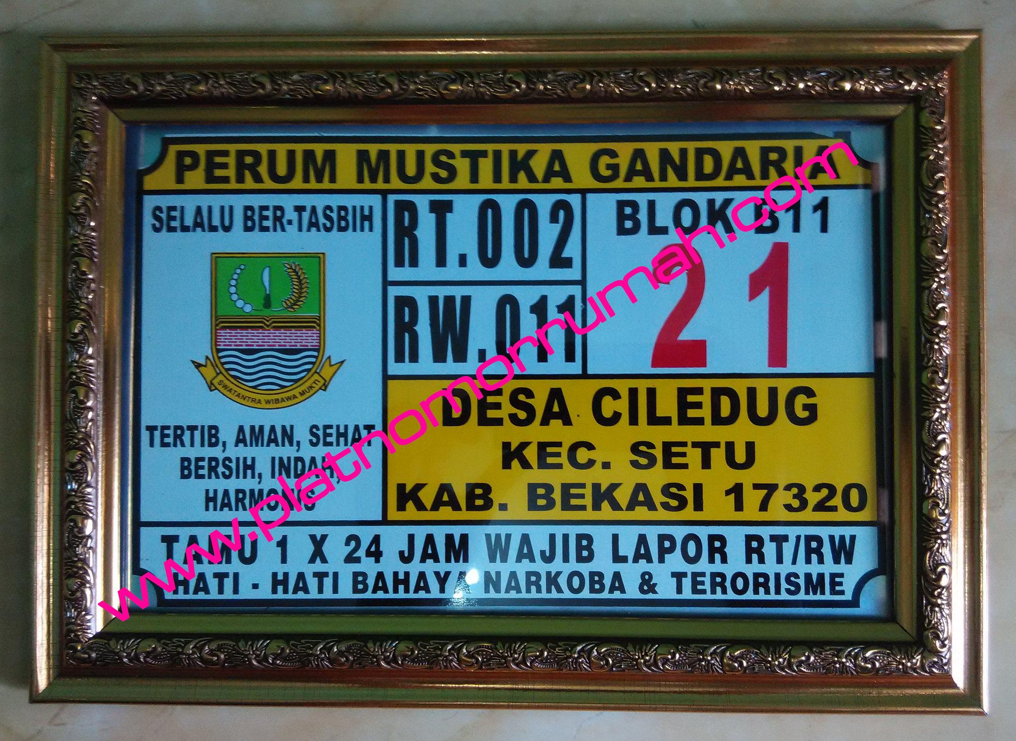 Plat Nomor Rumah Gandaria
