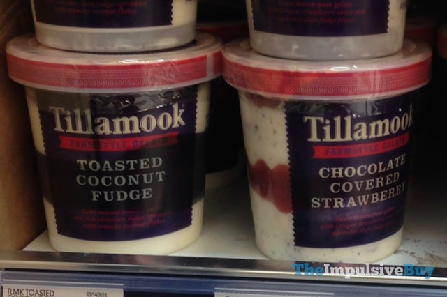 Tillamook Toasted Coconut Fudge and Chocolate Covered Strawberry Gelato