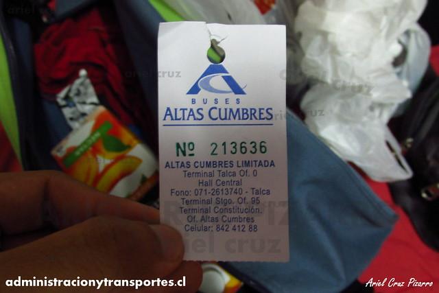 Ticket Equipaje - Buses Altas Cumbres