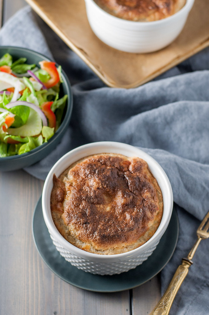 Easy-to-make individual black pepper Gruyere soufflé