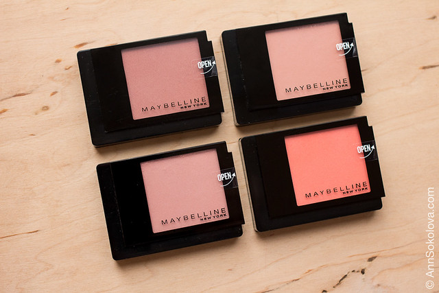 06 Maybelline Facestudio Blush 40 Pink Amber, 20 Brown, 30 Rosewood, 100 Peach Pop swatches