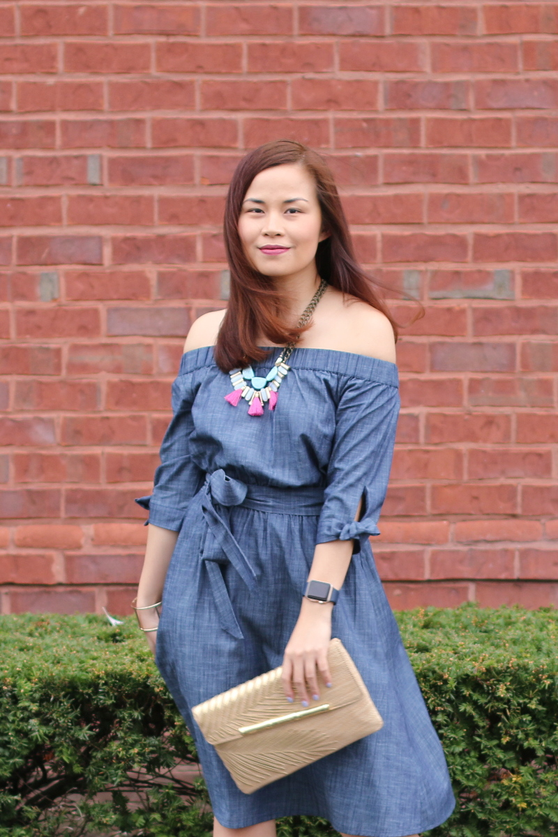 eShakti-chambray-off-shoulder-dress-tassel-necklace-3