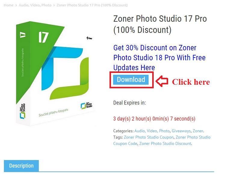 Bản quyền miễn phí Zoner Photo Studio 17 Pro bước 2: click download