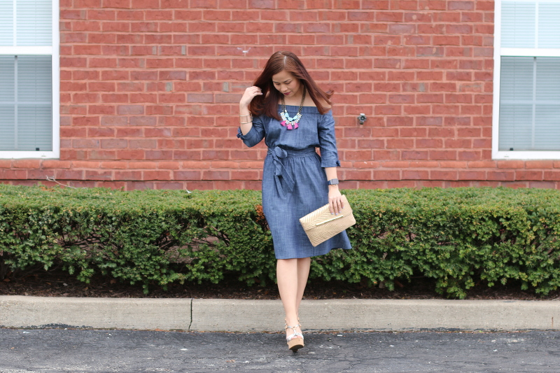 eShakti chambray off shoulder dress