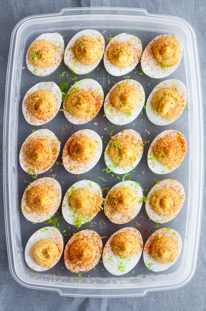 Rock the potluck, picnic, or weekend with deviled eggs made over! Roasted garlic and fresh squeezed lime juice round out fun and DELICIOUS chipotle deviled eggs.