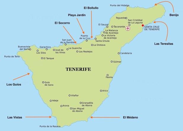 Mapa De Tenerife Sur.Las Mejores Playas De Tenerife Para Disfrutar En Cualquier