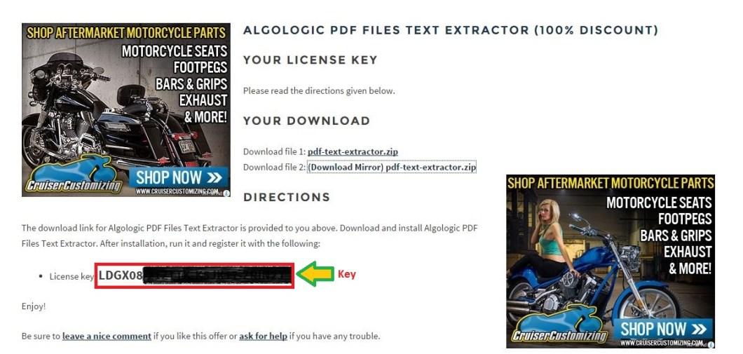 Nhận bản quyền miễn phí Algologic PDF Files Text Extractor bước 4: nhận link download và key