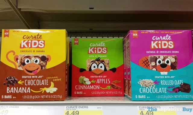 Curate Kids Bars (Chocolate & Banana, Apple & Cinnamon, and Oatmeal & Chocolate Chunk)