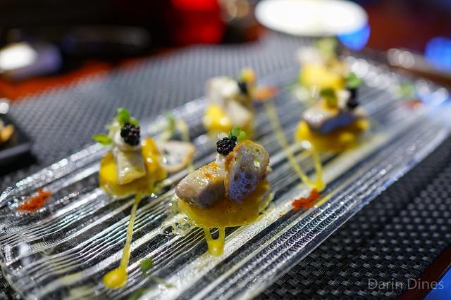La Roseval potato and smoked eel salad, horseradish cream and watercress sauce