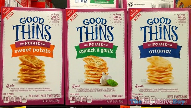 Nabisco Good Thins (Sweet Potato, Spinach & Garlic, and Original)